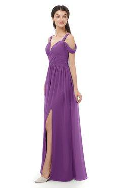 ColsBM Raven Dahlia Bridesmaid Dresses Split-Front Modern Short Sleeve Floor Length Thick Straps A-line