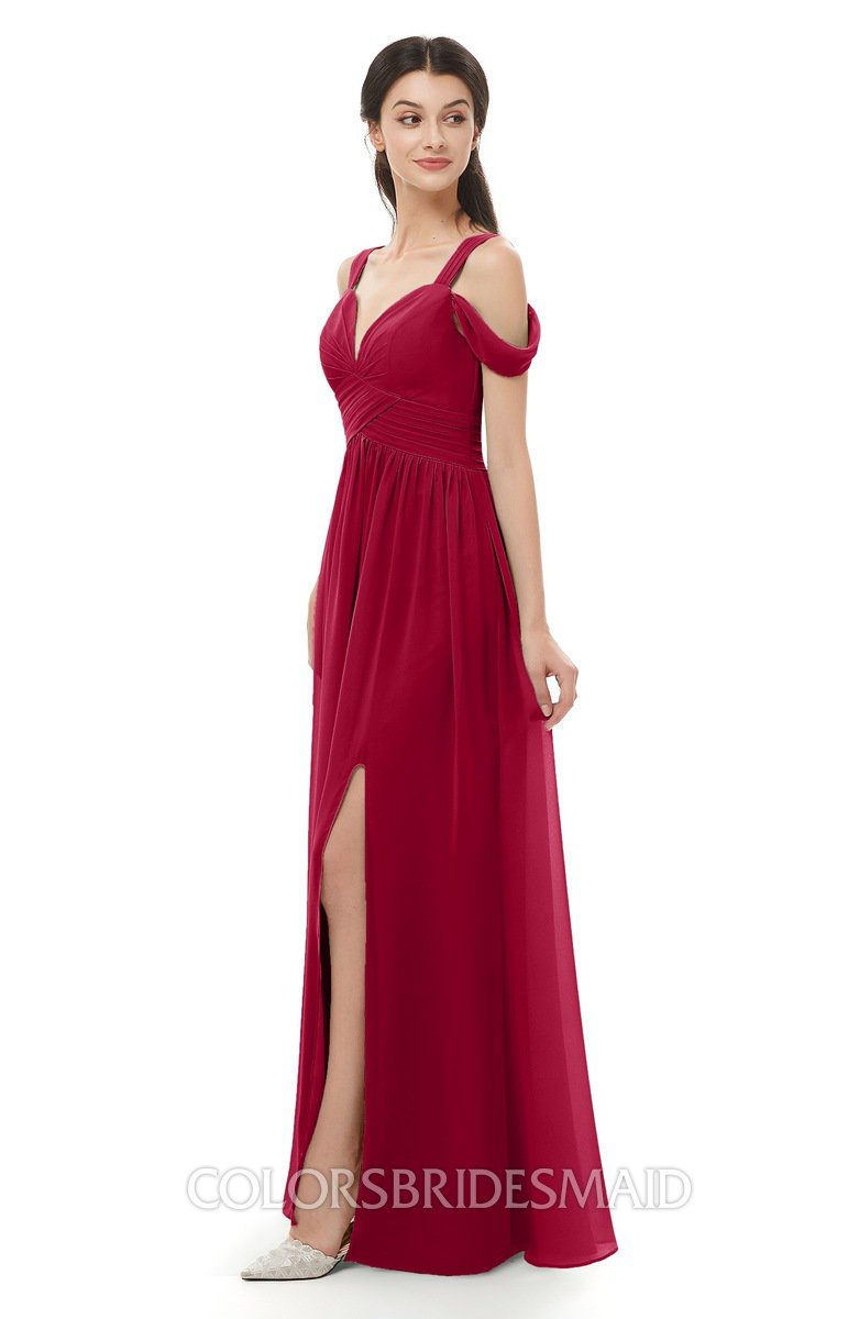 c07166df4bd8 ColsBM Raven Dark Red Bridesmaid Dresses Split-Front Modern Short Sleeve Floor  Length Thick Straps