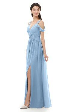 ColsBM Raven Dusty Blue Bridesmaid Dresses Split-Front Modern Short Sleeve Floor Length Thick Straps A-line