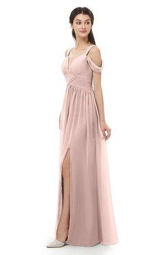 ColsBM Raven Dusty Rose Bridesmaid Dresses Split-Front Modern Short Sleeve Floor Length Thick Straps A-line