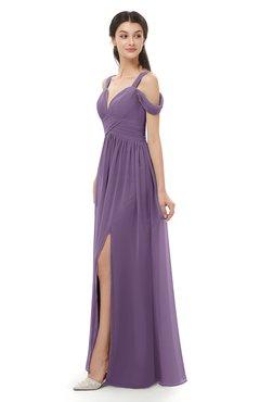 ColsBM Raven Eggplant Bridesmaid Dresses Split-Front Modern Short Sleeve Floor Length Thick Straps A-line