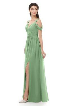 ColsBM Raven Fair Green Bridesmaid Dresses Split-Front Modern Short Sleeve Floor Length Thick Straps A-line