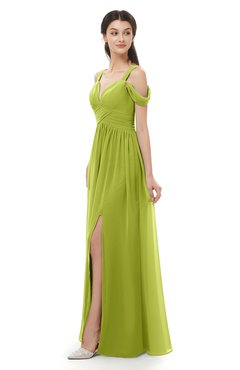 ColsBM Raven Green Oasis Bridesmaid Dresses Split-Front Modern Short Sleeve Floor Length Thick Straps A-line
