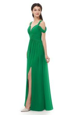 Colsbm Raven Green Bridesmaid Dresses Split Front Modern Short Sleeve Floor Length Thick Straps A