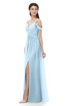 ColsBM Raven Ice Blue Bridesmaid Dresses Split-Front Modern Short Sleeve Floor Length Thick Straps A-line