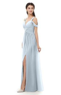 ColsBM Raven Illusion Blue Bridesmaid Dresses Split-Front Modern Short Sleeve Floor Length Thick Straps A-line