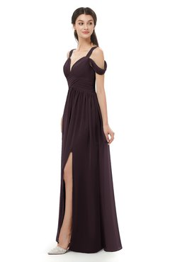 ColsBM Raven Italian Plum Bridesmaid Dresses Split-Front Modern Short Sleeve Floor Length Thick Straps A-line