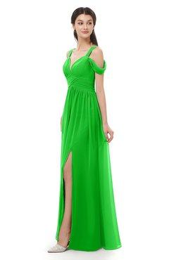 ColsBM Raven Jasmine Green Bridesmaid Dresses Split-Front Modern Short Sleeve Floor Length Thick Straps A-line