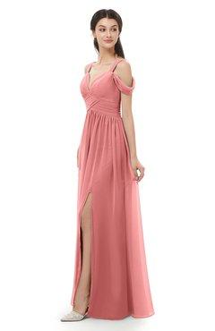 ColsBM Raven Lantana Bridesmaid Dresses Split-Front Modern Short Sleeve Floor Length Thick Straps A-line
