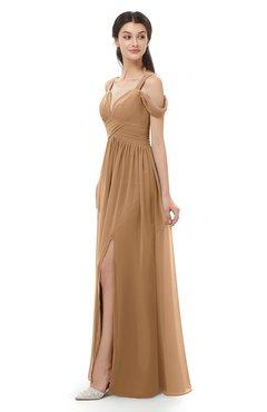 ColsBM Raven Light Brown Bridesmaid Dresses Split-Front Modern Short Sleeve Floor Length Thick Straps A-line