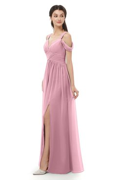 ColsBM Raven Light Coral Bridesmaid Dresses Split-Front Modern Short Sleeve Floor Length Thick Straps A-line