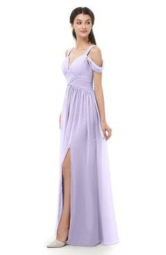 ColsBM Raven Light Purple Bridesmaid Dresses Split-Front Modern Short Sleeve Floor Length Thick Straps A-line