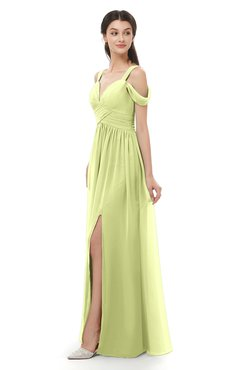 ColsBM Raven Lime Green Bridesmaid Dresses Split-Front Modern Short Sleeve Floor Length Thick Straps A-line