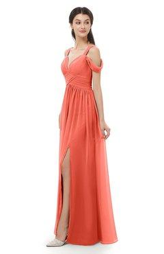 ColsBM Raven Living Coral Bridesmaid Dresses Split-Front Modern Short Sleeve Floor Length Thick Straps A-line