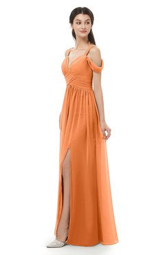 ColsBM Raven Mango Bridesmaid Dresses Split-Front Modern Short Sleeve Floor Length Thick Straps A-line