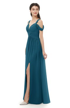 ColsBM Raven Moroccan Blue Bridesmaid Dresses Split-Front Modern Short Sleeve Floor Length Thick Straps A-line