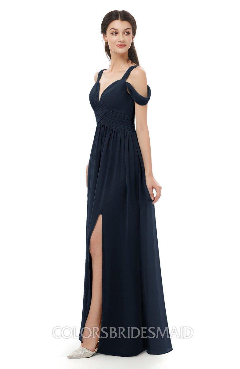 Raven Navy Blue Bridesmaid Dresses Split-Front Modern Short Sleeve Floor Length Thick Straps A-line