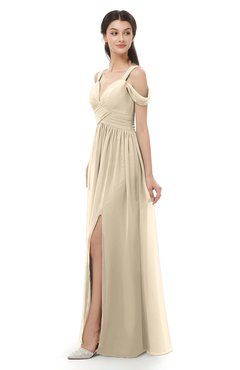 ColsBM Raven Novelle Peach Bridesmaid Dresses Split-Front Modern Short Sleeve Floor Length Thick Straps A-line