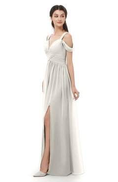 ColsBM Raven Off White Bridesmaid Dresses Split-Front Modern Short Sleeve Floor Length Thick Straps A-line