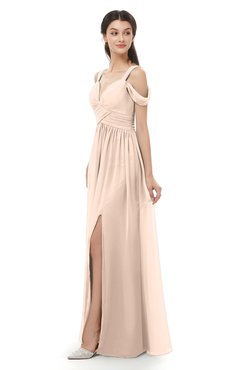 ColsBM Raven Peach Puree Bridesmaid Dresses Split-Front Modern Short Sleeve Floor Length Thick Straps A-line