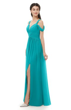 ColsBM Raven Peacock Blue Bridesmaid Dresses Split-Front Modern Short Sleeve Floor Length Thick Straps A-line