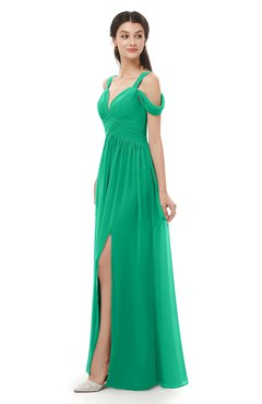 ColsBM Raven Pepper Green Bridesmaid Dresses Split-Front Modern Short Sleeve Floor Length Thick Straps A-line
