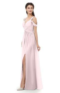 ColsBM Raven Petal Pink Bridesmaid Dresses Split-Front Modern Short Sleeve Floor Length Thick Straps A-line