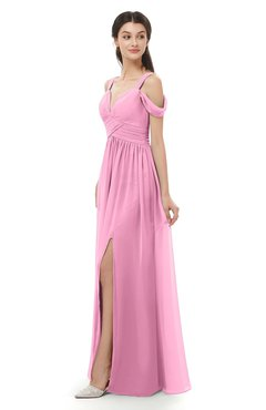 ColsBM Raven Pink Bridesmaid Dresses Split-Front Modern Short Sleeve Floor Length Thick Straps A-line