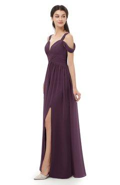 ColsBM Raven Plum Bridesmaid Dresses Split-Front Modern Short Sleeve Floor Length Thick Straps A-line