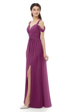 ColsBM Raven Raspberry Bridesmaid Dresses Split-Front Modern Short Sleeve Floor Length Thick Straps A-line