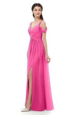 ColsBM Raven Rose Pink Bridesmaid Dresses Split-Front Modern Short Sleeve Floor Length Thick Straps A-line