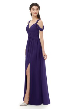 ColsBM Raven Royal Purple Bridesmaid Dresses Split-Front Modern Short Sleeve Floor Length Thick Straps A-line
