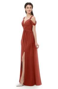 ColsBM Raven Rust Bridesmaid Dresses Split-Front Modern Short Sleeve Floor Length Thick Straps A-line