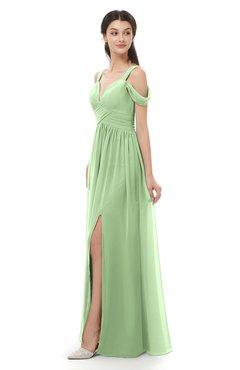 ColsBM Raven Sage Green Bridesmaid Dresses Split-Front Modern Short Sleeve Floor Length Thick Straps A-line