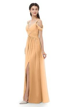 ColsBM Raven Salmon Buff Bridesmaid Dresses Split-Front Modern Short Sleeve Floor Length Thick Straps A-line
