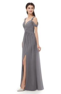 ColsBM Raven Storm Front Bridesmaid Dresses Split-Front Modern Short Sleeve Floor Length Thick Straps A-line
