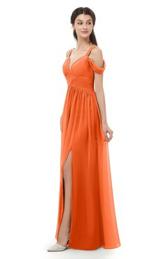 ColsBM Raven Tangerine Bridesmaid Dresses Split-Front Modern Short Sleeve Floor Length Thick Straps A-line