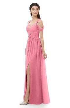 ColsBM Raven Watermelon Bridesmaid Dresses Split-Front Modern Short Sleeve Floor Length Thick Straps A-line
