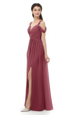 ColsBM Raven Wine Bridesmaid Dresses Split-Front Modern Short Sleeve Floor Length Thick Straps A-line