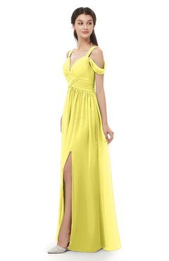 ColsBM Raven Yellow Iris Bridesmaid Dresses Split-Front Modern Short Sleeve Floor Length Thick Straps A-line