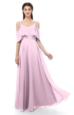 ColsBM Jamie Baby Pink Bridesmaid Dresses Floor Length Pleated V-neck Half Backless A-line Modern