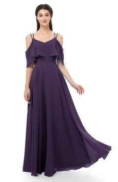 ColsBM Jamie Blackberry Cordial Bridesmaid Dresses Floor Length Pleated V-neck Half Backless A-line Modern