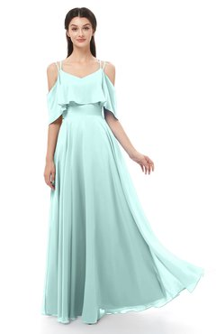 ColsBM Jamie Blue Glass Bridesmaid Dresses Floor Length Pleated V-neck Half Backless A-line Modern