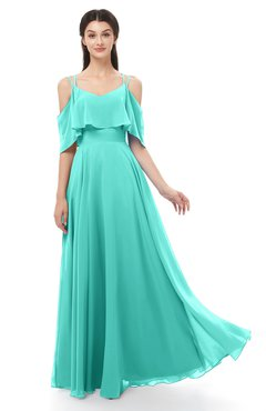 ColsBM Jamie Blue Turquoise Bridesmaid Dresses Floor Length Pleated V-neck Half Backless A-line Modern