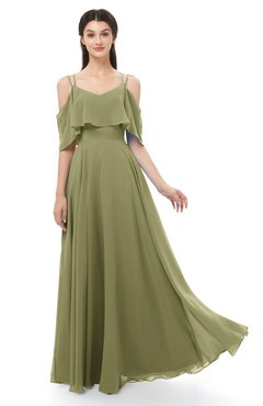 ColsBM Jamie Cedar Bridesmaid Dresses Floor Length Pleated V-neck Half Backless A-line Modern