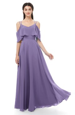 ColsBM Jamie Chalk Violet Bridesmaid Dresses Floor Length Pleated V-neck Half Backless A-line Modern