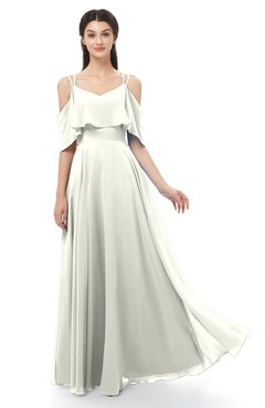 ColsBM Jamie Cream Bridesmaid Dresses Floor Length Pleated V-neck Half Backless A-line Modern