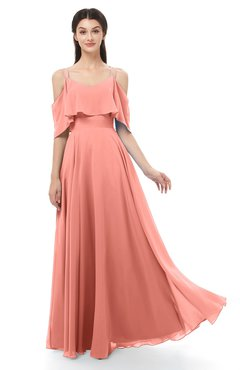 ColsBM Jamie Desert Flower Bridesmaid Dresses Floor Length Pleated V-neck Half Backless A-line Modern