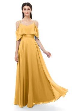 ColsBM Jamie Golden Cream Bridesmaid Dresses Floor Length Pleated V-neck Half Backless A-line Modern