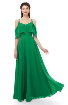 ColsBM Jamie Green Bridesmaid Dresses Floor Length Pleated V-neck Half Backless A-line Modern